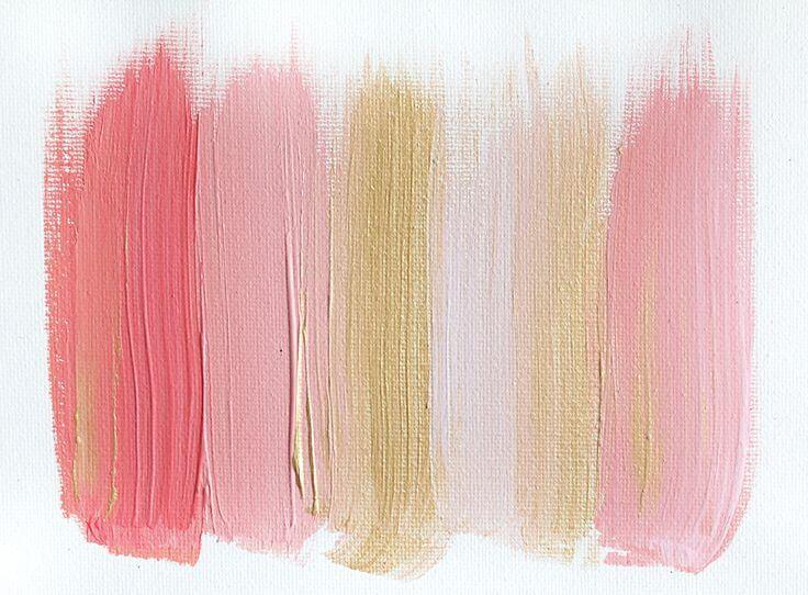 paleta de colores rosa y dorado