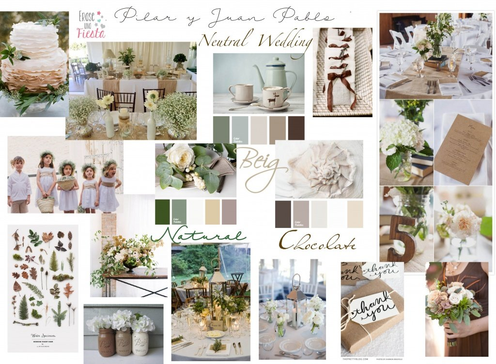 Moodboard neutral and natural wedding, moodboard boda natural
