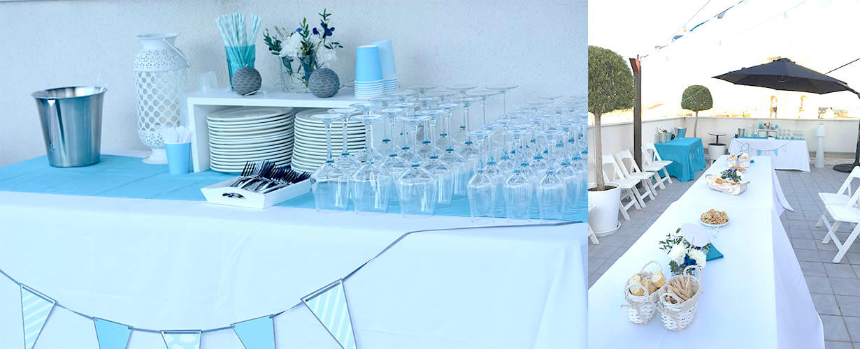 Fiesta en blanco y azul